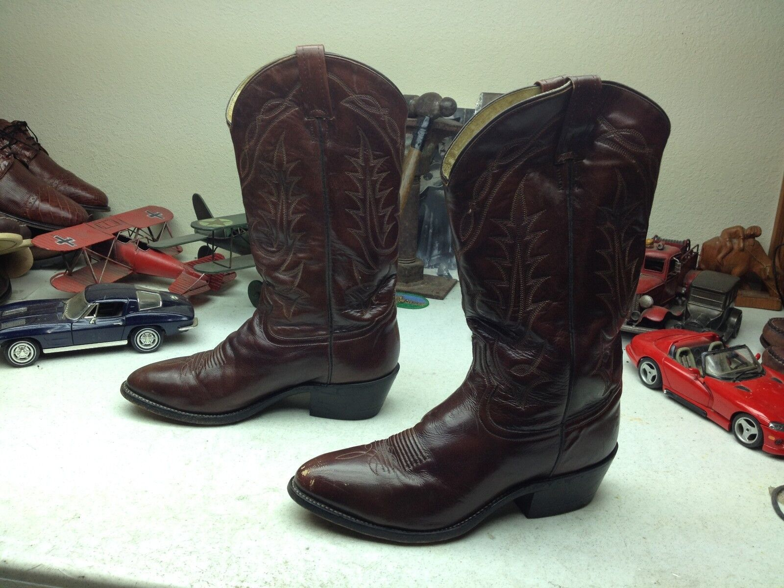 DISTRESSED IMPERFECT TONY LAMA USA BROWN LEATHER WESTERN COWBOY BOOTS 9.5 D