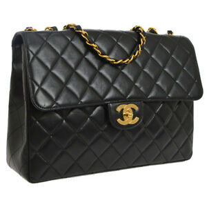 6a62b5da1909 Auth CHANEL Quilted CC Jumbo Double Chain Shoulder Bag Black Leather ...
