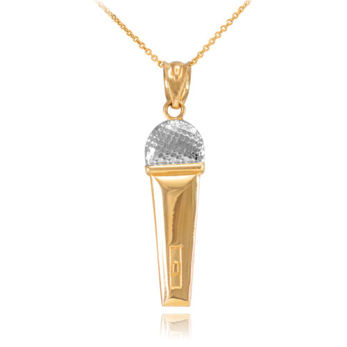 14k Two-Tone Yellow Gold Handheld Mic Microphone Studio Music Pendant Necklace