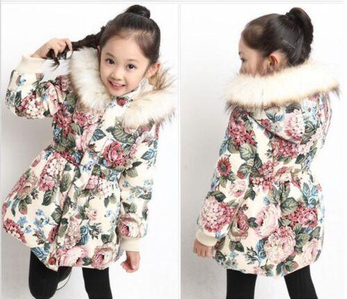 Kids Girls Padded Hooded Jacket Winter Coat Velvet Thick Fur Collar Casual Parka
