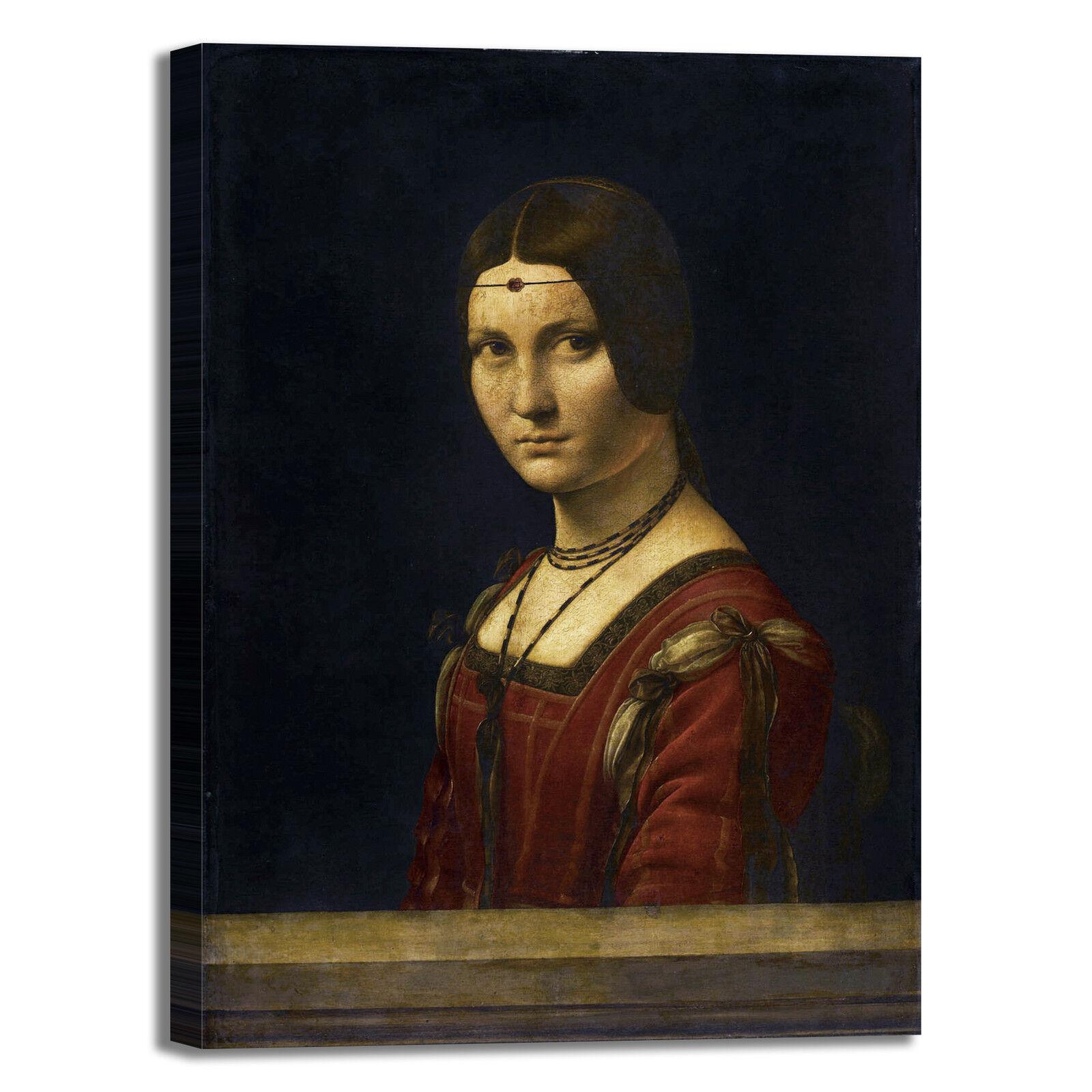 Da Vinci Belle Ferronnière design quadro stampa tela dipinto telaio arroto casa