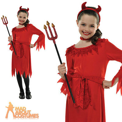 Girls Little Red Devil Costume Halloween Fancy Dress with Horns Kids Outfit