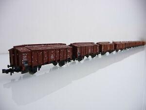 Minitrix-N-1-160-51-3531-00-9-teiliger-Zug-Klappdeckelwagen-Kmm-36-2-achsig