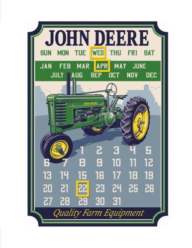 NEW John Deere Quality Farm Equipment Metal Calendar Sign LP69370