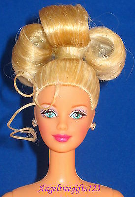 Nude Barbie mackie sculpt blonde Curly ponytail blue eyes perfect for ooak