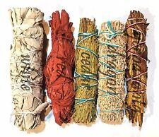 SET of 5 Sage Smudge Stick SAMPLER Yerba, Red, White, Cedar, Dragons blood ~ NEW