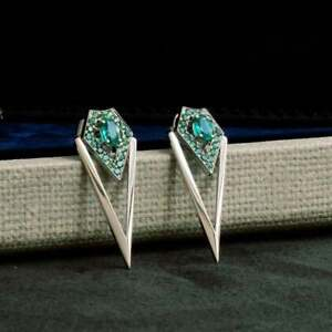 Tsavorites-With-Oval-Emerald-Long-039-V-039-Shape-Or-Without-Turning-Stud-Type-Earring
