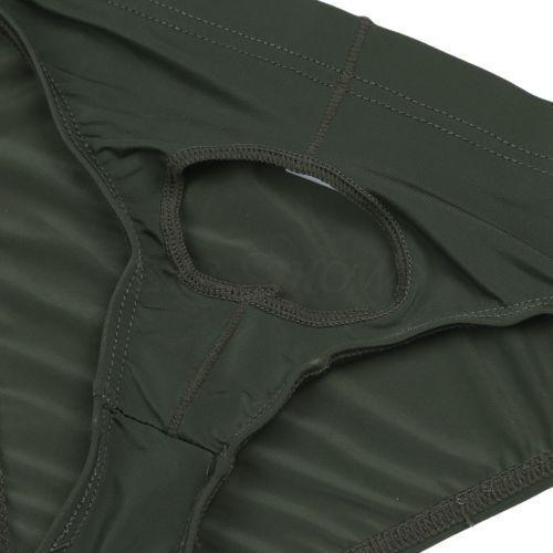 Mens Lingerie Ice Silk Bikini Briefs Open Penis Hole Underwear Underpants Thongs