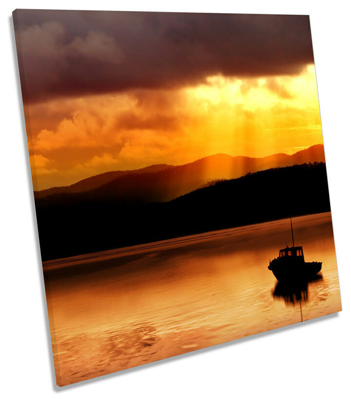 Fishing Boat Sunset Seascape SQUARE BOX FRAMED CANVAS ART Print