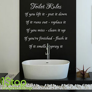Toilet Rules Wall Sticker Quote Bathroom Home Wall Art Decal X131