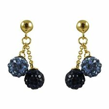 6mm Blue Navy Crystal Ball Sterling Silver Gold Plated Kids Earrings
