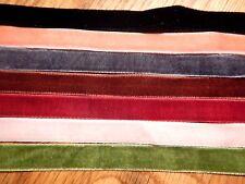 7 VELVET CHOKER SET necklace punk goth collar band lot ribbon red pink black 2A