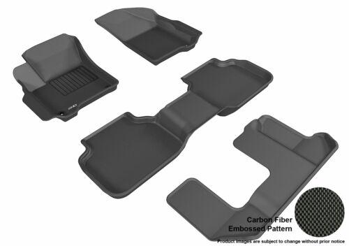 3D Floor Liners BLACK for DODGE JOURNEY 2012-2018 3 ROWS 4 PC Mats L1DG01201509