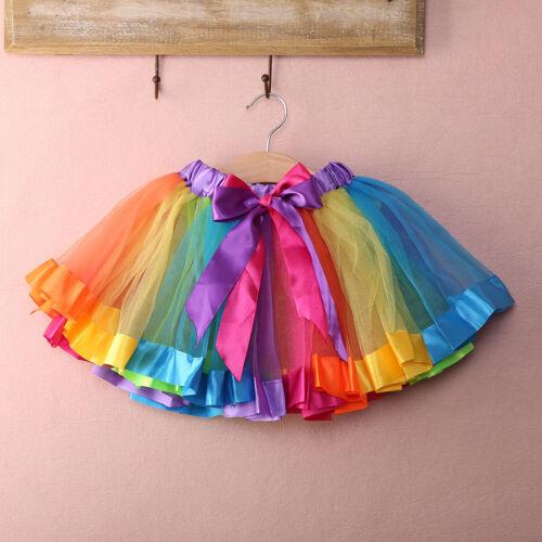 GIRLS RAINBOW TUTU SKIRT PETTICOAT MULTICOLOUR DRESS KIDS BALLET PRINCESS DANCE