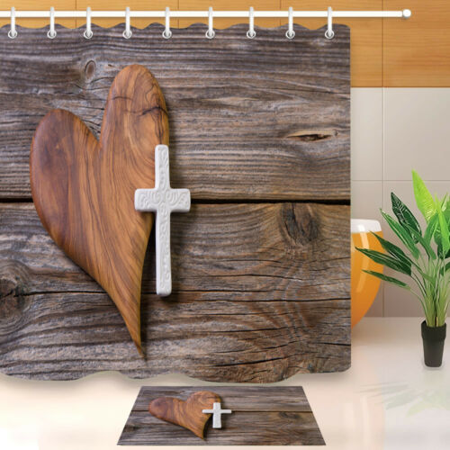 Rustic Board Creative Heart Shaped Cross Shower Curtain Liner Waterproof Fabric