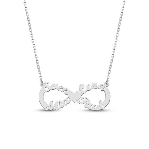 Unendlich Infinity Namenskette mit vier Namen Familienkette aus 925er Silber