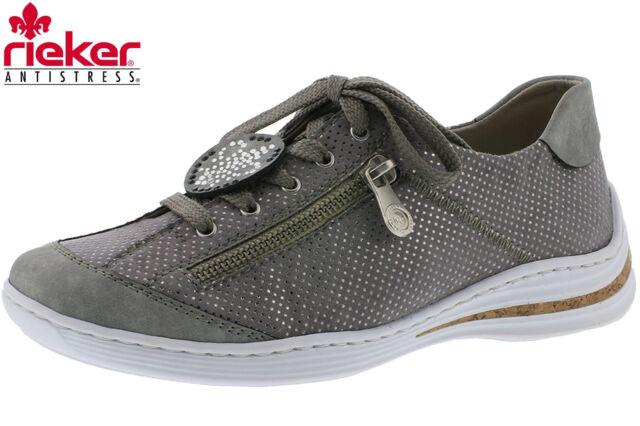 Rieker Damen Sneaker Grau Metallic Leder Optik Schuhe Slipper M3518-40 NEU