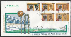 JAMAICA-1988-CRICKET-DIAMOND-JUBILEE-Set-Of-5-5v-FDC