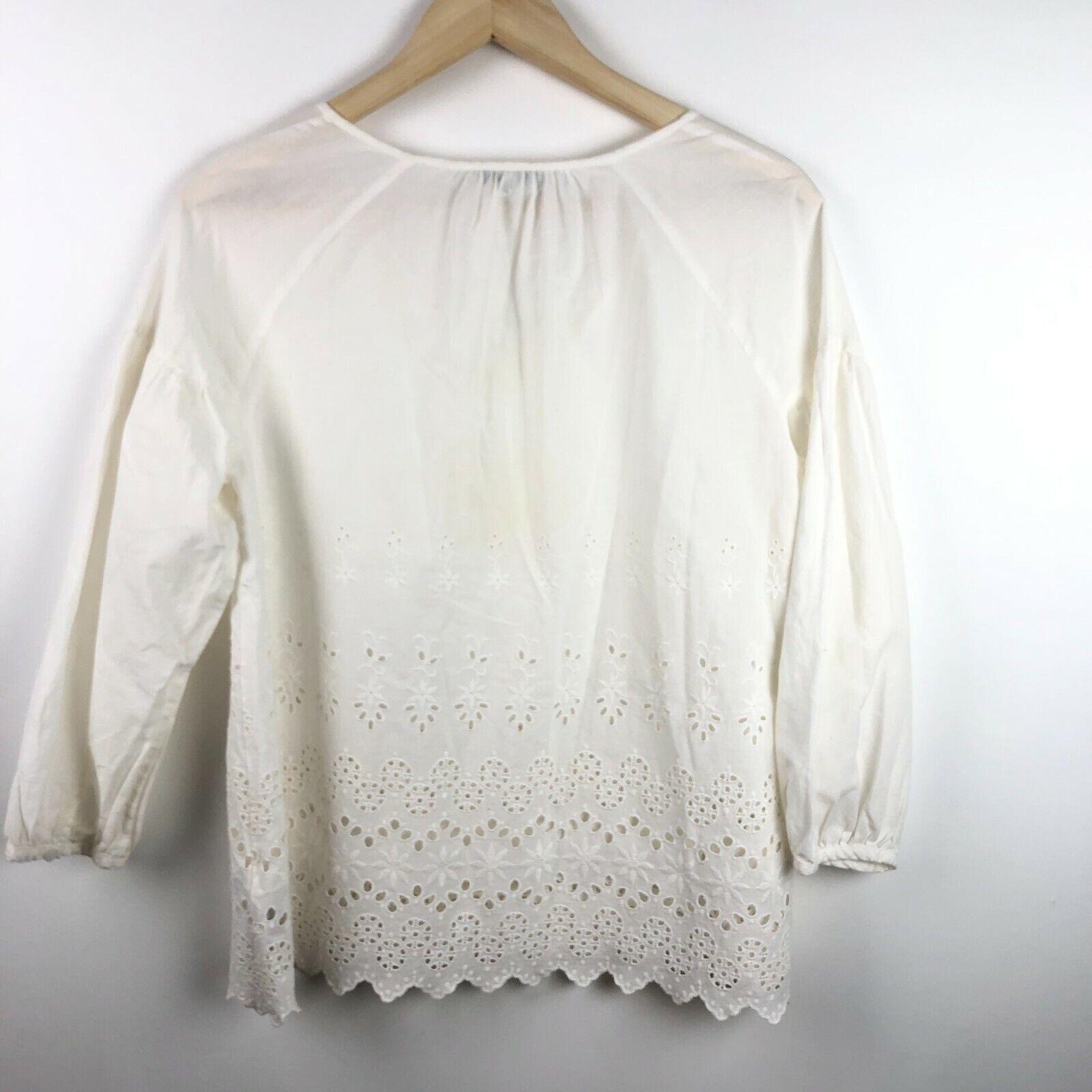 Madewell Eyelet Lattice Top XS Crisp White Cotton… - image 6