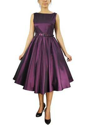 PURPLE SLEEVELESS BELTED DRESS  RETRO VINTAGE 50s STYLE PINUP