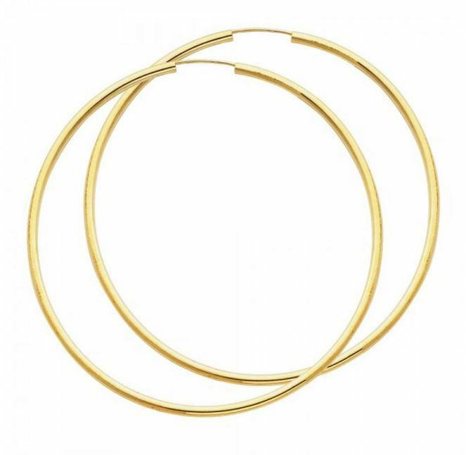 14k Solid Yellow gold Lightweight Extra Large Big Classic Hoops 2.5 Inches