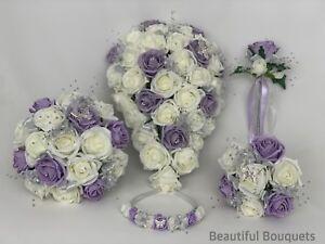 Bouquet Sposa Lilla.Dettagli Su Wedding Bouquet Lilla Fiori Di Rosa Avorio Sposa Damigella D Onore Asole Posy Bacchetta Mostra Il Titolo Originale