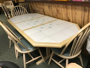Details about kitchen table and 6 chairs with tile inlay. light wood table  and Windsor chair