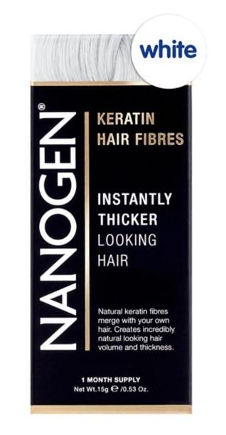 Nanogen Thickening Hair Fibres - White - 15g 1 months supply Natural Keratin