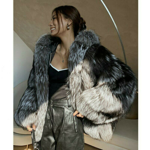 2020 Winter Real Silver Fox Fur Coat Hooded Thick Warm Overcoat Natural Jacket