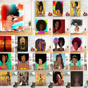 Afro African American Woman Fabric Shower Curtain Hooks