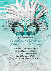 Details About Masquerade Ball Invitation Sweet 16 Party Teal Quinceanera Invite
