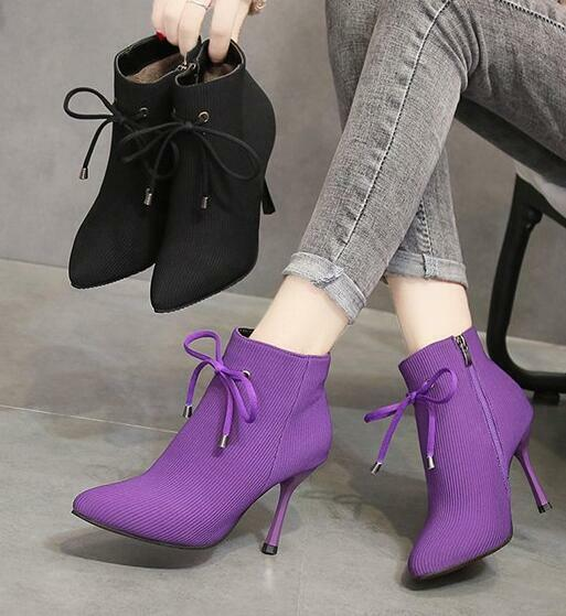 Womens High Heels Pointed Toe Ankle Boots Lace Up Zipper Side Stilettos Shoes