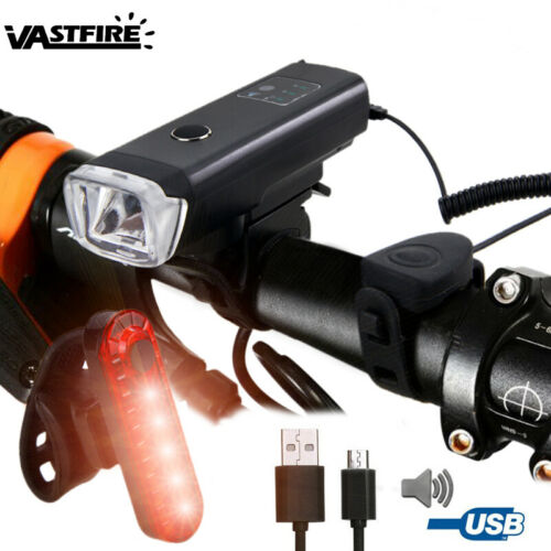 Bicycle Headlight Sensor Horn Lamp Bike Front Rear Tail Light USB Rechargeable