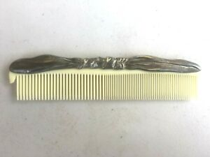 VTG-Art-Deco-Comb-Silver-Handle-Ivory-Colored-Teeth