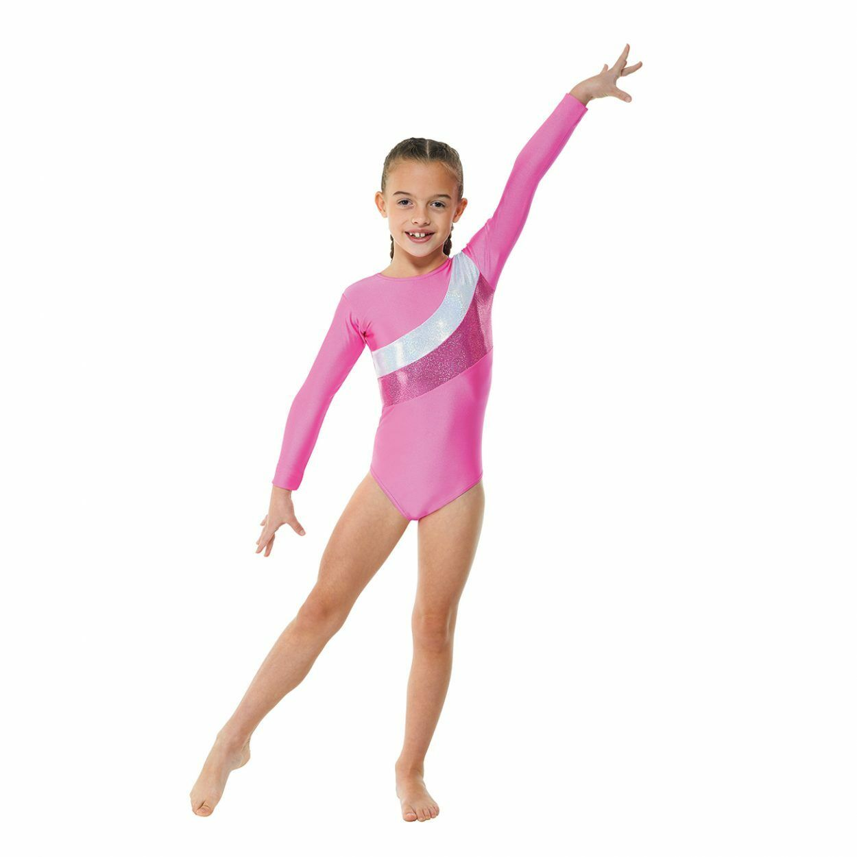 LONG SLEEVED GYMNASTICS LEOTARD NYLON LYCRA IN PINK OR PURPLE (GYM19)