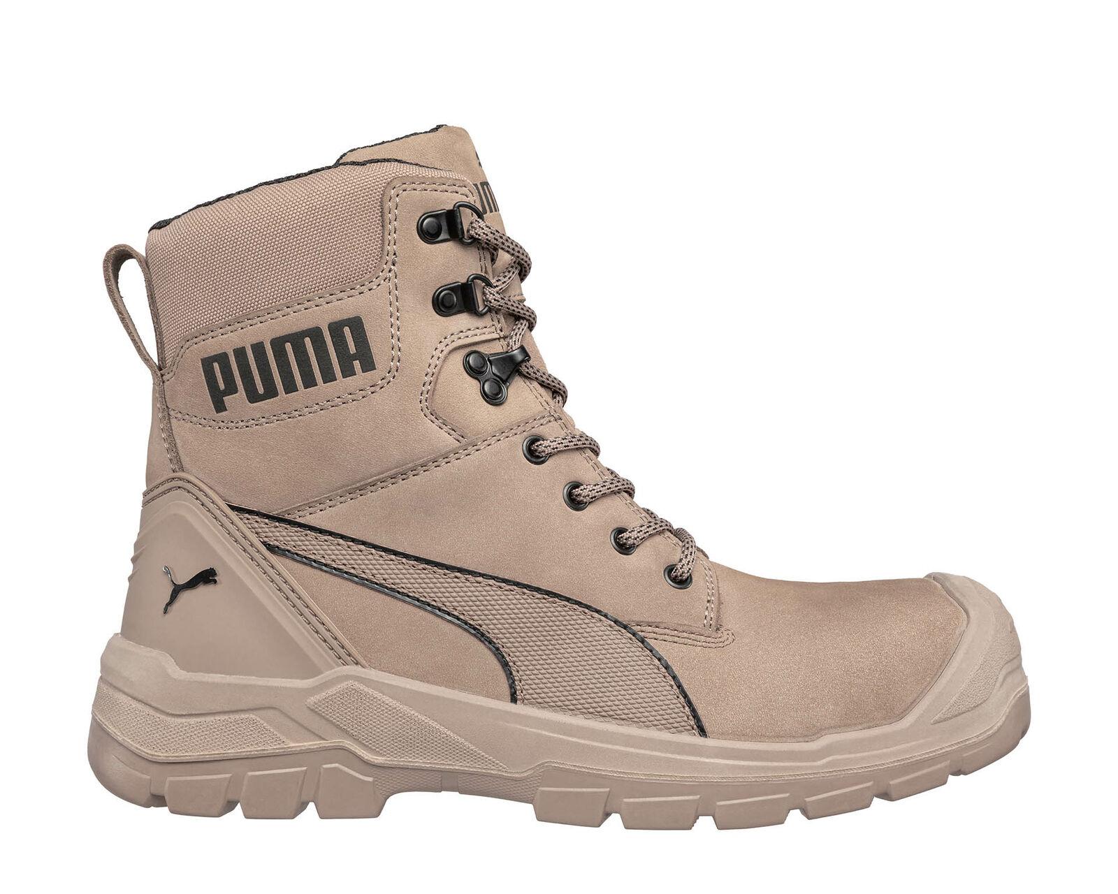 Puma Conquest Stone High S3 Side Zip Fiberglass Safety Toe Scuff Cap Work Boots