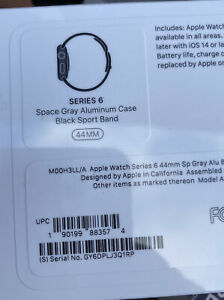 Apple Watch Series 6 44mm Gray Aluminum Case-Black Sport Band GPS! NEW SEALED!