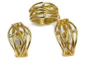 Design-Schmuckset-vergoldet-mit-Strass-Ring-und-Ohrhaenger-Elegant