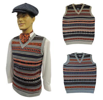 Motiviert Mens Vintage Style 1930's 40's Ww2 Wartime Fair Isle Knit Slip Over Tank Top Und Verdauung Hilft