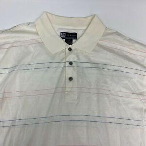 Jos. A. Bank Golf Polo Shirt Men's 2XL XXL Short Sleeve White Striped Cotton