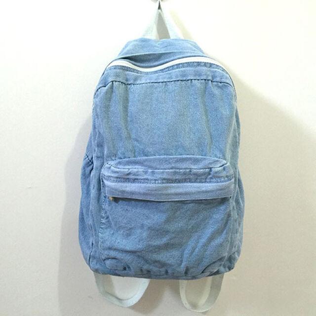 Boys Girls Unisex Vintage Washed Denim Jean School Bag Travel Matching Backpack