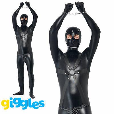 Bondage Gimp Black Bodysuit Adult Stag Halloween Fetish Fancy Dress Costume