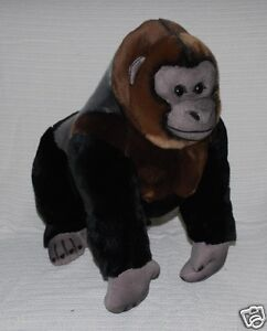 "*NEW* REALISTIC WILD SILVERBACK GORILLA ""KONG"" JUNGLE ANIMAL SOFT TOY 45cm"