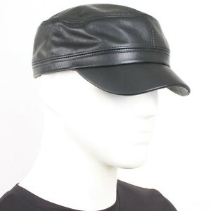 e00a316296e NEW Genuine Leather Cap   Military Cadet Army Cargo Trucker Rider ...