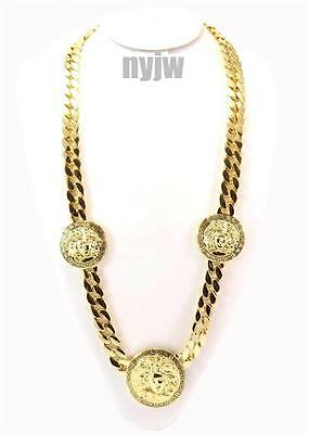 "HIP HOP GOLD 3 MEDALLION MEDUSA GREEK CUBAN CHAIN PENDANT 30"" NECKLACE KMC002G"