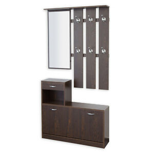 garderobe garderoben set 3 teilig siena nussbaum flurgarderobe schuhschrank 4250263732620 ebay. Black Bedroom Furniture Sets. Home Design Ideas