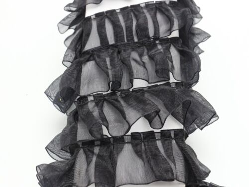 5 Meters Black Ruffle Unilateral Organza Lace Ribbon Trim 25mm Sewing Wedding