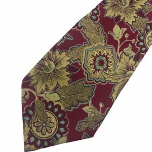 Fendi-Cravatte-Silk-Tie-Classic-Fit-Paisley-Floral-Red-Gold-Italian-Made-Italy