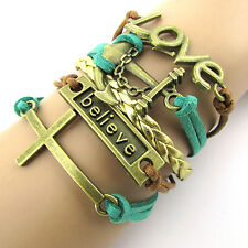 NEW Hot Retro Infinity LOVE Believe Leather Charm Bracelet plated Copper