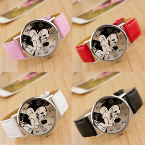Mickey-Mouse-Leather-Wrist-Watch-Lady-Girl-Women-Teens-Kids-Cartoon-Watches